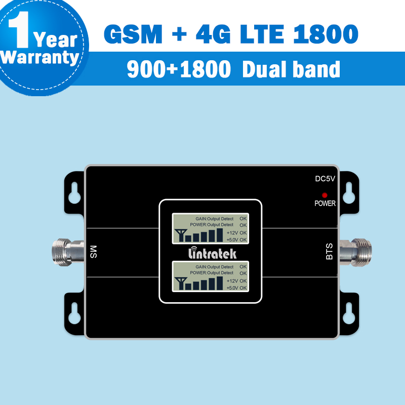 2018 Lintratek Dual Band 2G 4G 1800 Repeater GSM 900 LTE 1800 Mobile Phone 65dB Signal Booster 4G Cellular Signal Amplifier S44