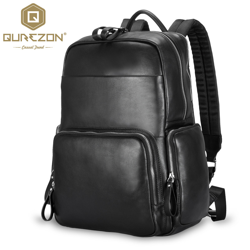 Brand Men Vintage Genuine Leather Fashion Backpack For 16.5 Inch Laptop Multi Pockets HikinTravel Rucksack Shoulder Bag Mochila famous brand luxury men backpack genuine leather vintage mochila black men sport double shoulder bag men s backpacks bp00042
