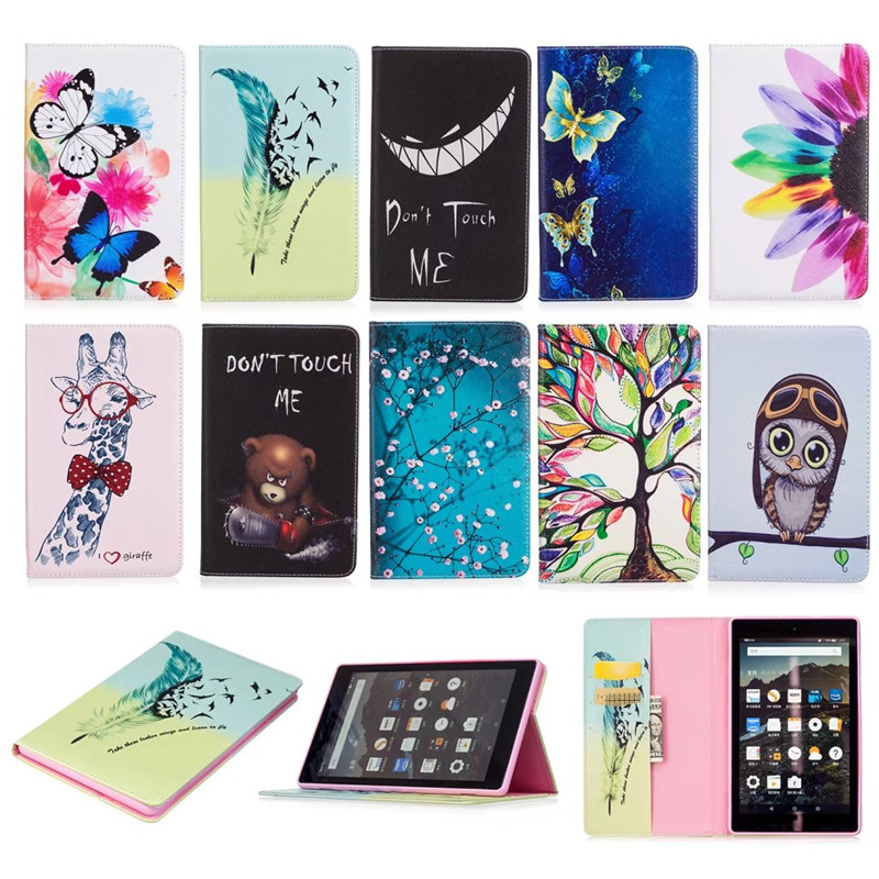 Fashion Giraffe PU Leather Wallet Wallet Flip Case For Amazon Kindle Fire HD 8 HD8 2017 8'' inch Ereader Protector Cover B120