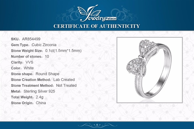 JewelryPalace Bow Cubic Zirconia Anniversary Wedding Ring For Women Soild 925 Sterling Silver Jewelry For Girl Party Friend Gift 5