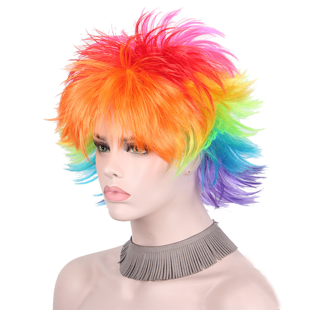 Rainbow Colorful Big Fans Party Wigs for Women Men Kids Colorful Football Hair Afro Clown Cosplay Wig Red Green Purple Blue