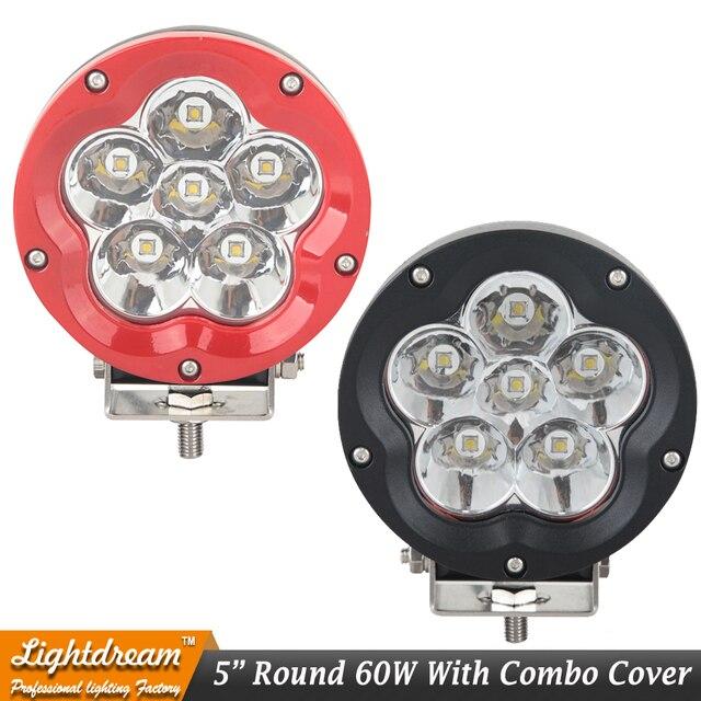 5 inch 60W 4x4 LED Headlight Round Led Driving Light for Defender wrangler TJ JK 12V 24V Black Red off road external light x1PC