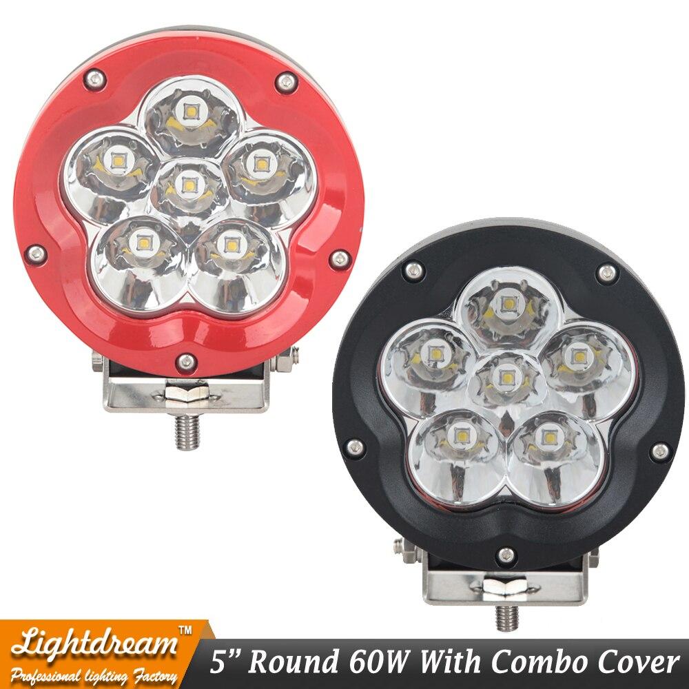 5 pouces 60W 4x4 phare LED LED ronde lumière de conduite pour Defender wrangler TJ JK 12V 24V noir rouge hors route lumière externe x1PC