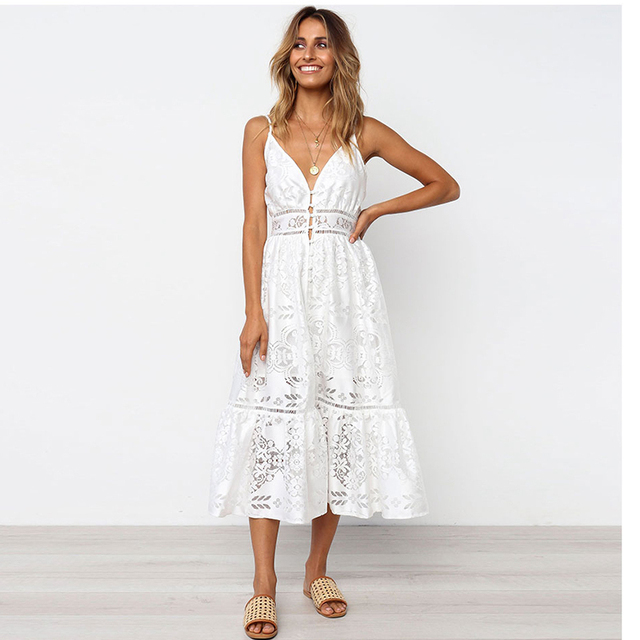 d13a69a7fe7 Miguofan Women Boho Dresses White Guipure Lace Backless Hollow Out Long  Gypsy Spaghetti Strap Sexy Vestidos Midi Dress Summer
