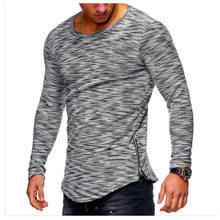 28768a5d48752 New Design Fashion Men's T-Shirt 2018 Summer Long Sleeve Solid Color T  Shirt Men