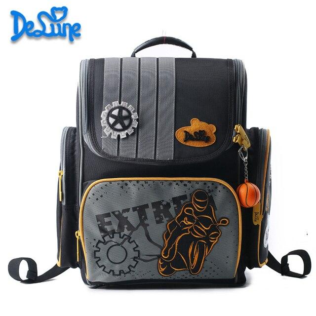 6ae1478e7134 Delune School Backpack Cartoon 3D Racing Car Motorcycle School Bags for Boys  Orthopedic Backpacks School Mochila