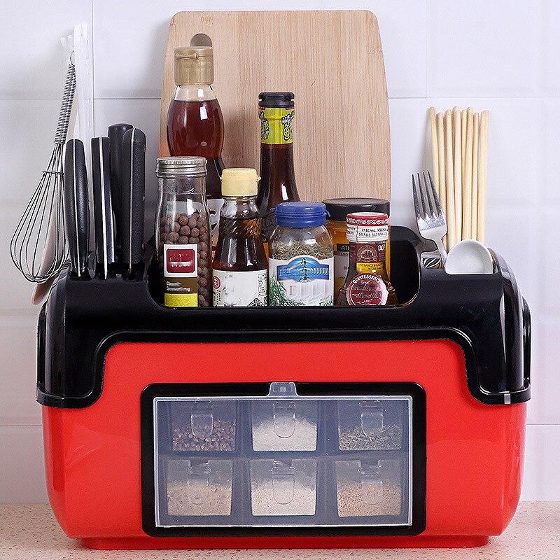 Cordial Brillant Multifonctionnel étagère de cuisine coffret d'assaisonnement pot à épices étagère de rangement Baguettes Cutter boîte de rangement Grande Capacité