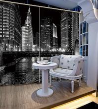 City night scene Curtain Luxury 3D Window Curtain For Living Room  building curtains Blackout curtain 3d night scene door sticker
