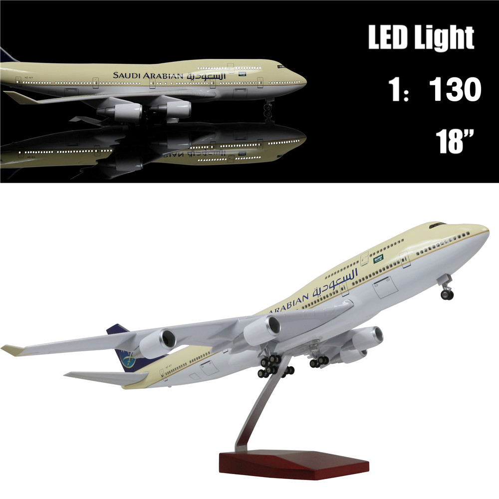 46CM 1:130 Diecast Airplane Model Saudi Arabia Airbus 747 with LED Light(Touch or Sound Control) Plane for Decoration or Gift46CM 1:130 Diecast Airplane Model Saudi Arabia Airbus 747 with LED Light(Touch or Sound Control) Plane for Decoration or Gift