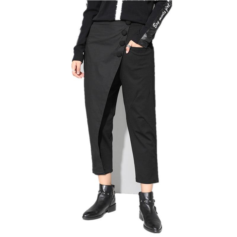 HTB1VQ2Xdi6guuRjy0Fmq6y0DXXad - [EAM] 2019 New Spring Black Loose High Waist Flat Elastic Waist Women Fashion Tide Wide Leg Ankle-length Pants OA870