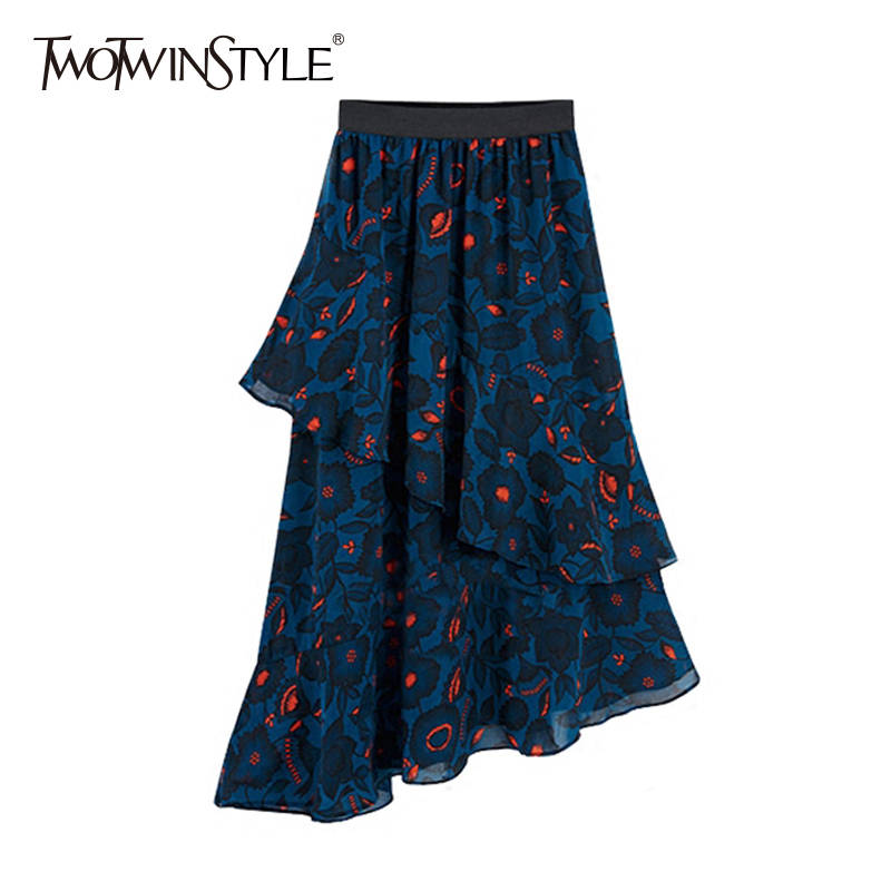 TWOTWINSTYLE Chiffon Floral Skirt Womens Elastic High Waist Draped Asymmetrical Midi Skirts Female Spring Fashion Clothing 2020
