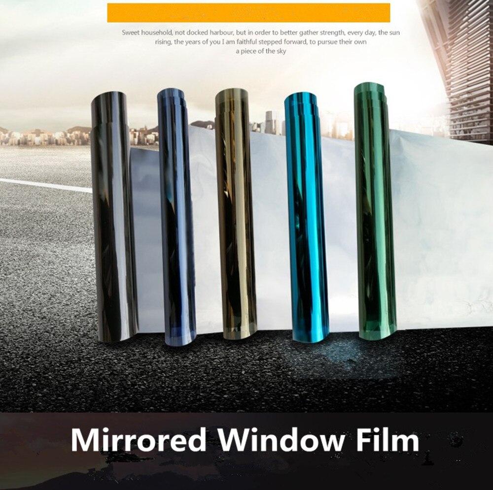 Ev ve Bahçe'ten Dekoratif Filmler'de 1 m x 5 m Güneş Tonu pencere perdesi Film Çıkartmalar Renkli UV Yansıtıcı PET Film Tek Yönlü Gizlilik Dekorasyon cam PET Film'da  Grup 1