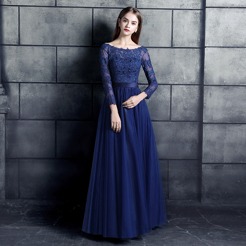 New Arrival Prom Party Dresses Vestido De Noiva Sereia Robe De Soiree Evening Elegant Lace Full Sleeves Bow Navy Long