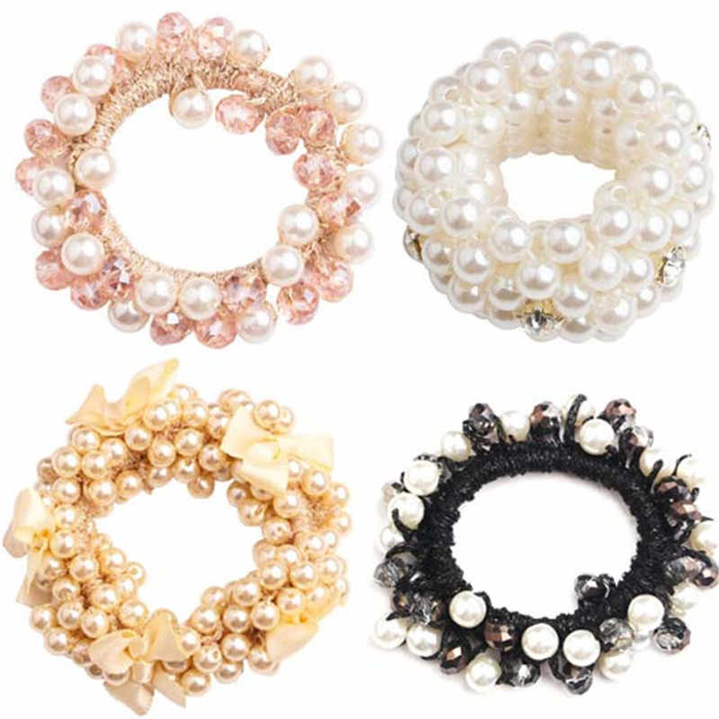 Korean Pearl Beaded Hair Ties Scrunchies Crystal Elastic Hairband Ponytail Holders Women Hair Rope Rubber Gum Hair Accessories