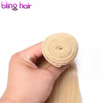 Bling Hair Pre-colored #613 Human Hair Bundles with Closure 4*4 Free Part Straight Brazilian Hair Blonde Bundles Non Remy Weaves