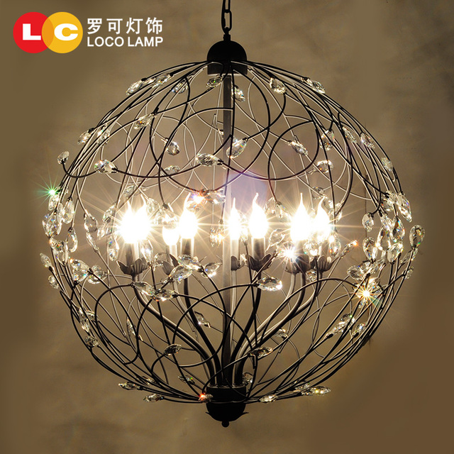 Modern Minimalist Wrought Iron Crystal Pendant Light Living Room Bedroom Dining Lamps Hanging Lighting