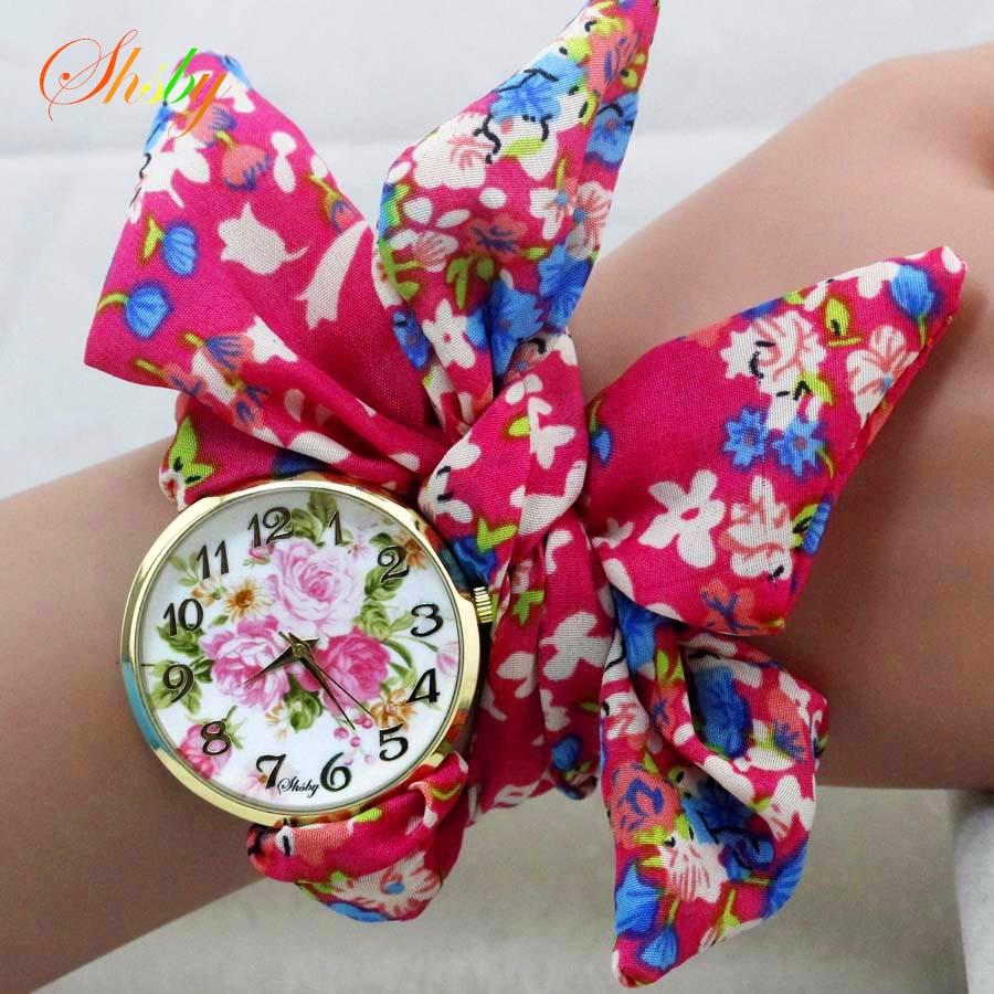 shsby unieke dames bloem doek polshorloge mode vrouwen jurk horloge zijdeachtige chiffon stof horloge zoete meisjes armband horloge