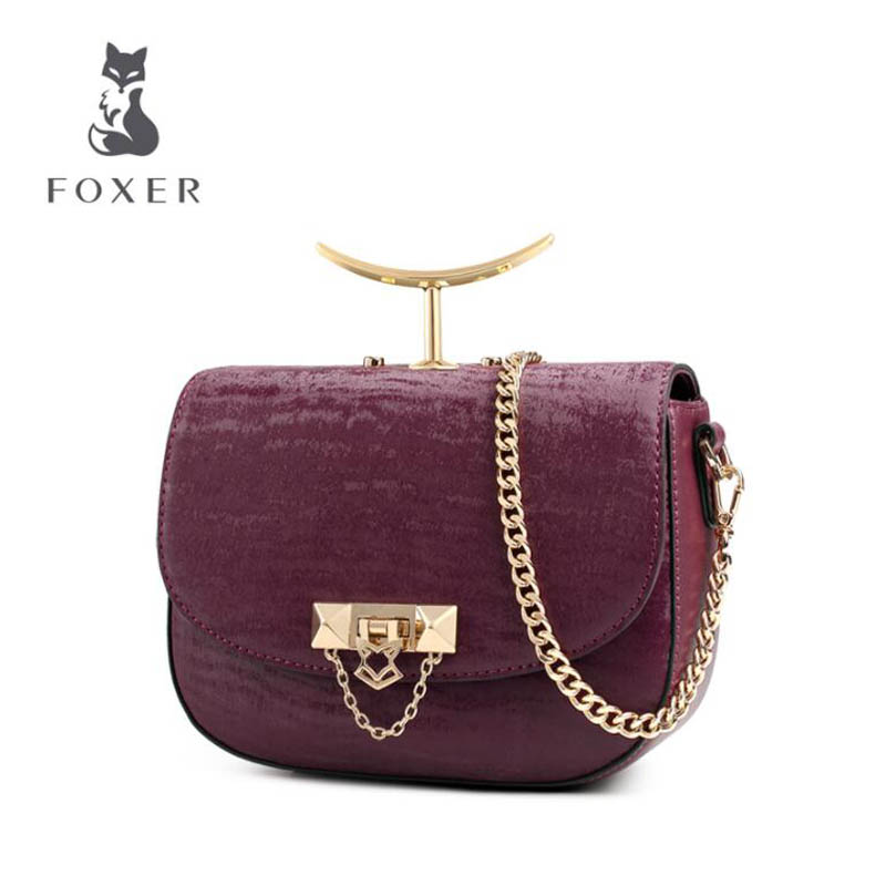 FOXER brand bags handbag 2018 new European and American fashion authentic shoulder Messenger bag Small square package velvet bagthe european and american fashion small package pure color lock one shoulder inclined shoulder women2018messenger bag