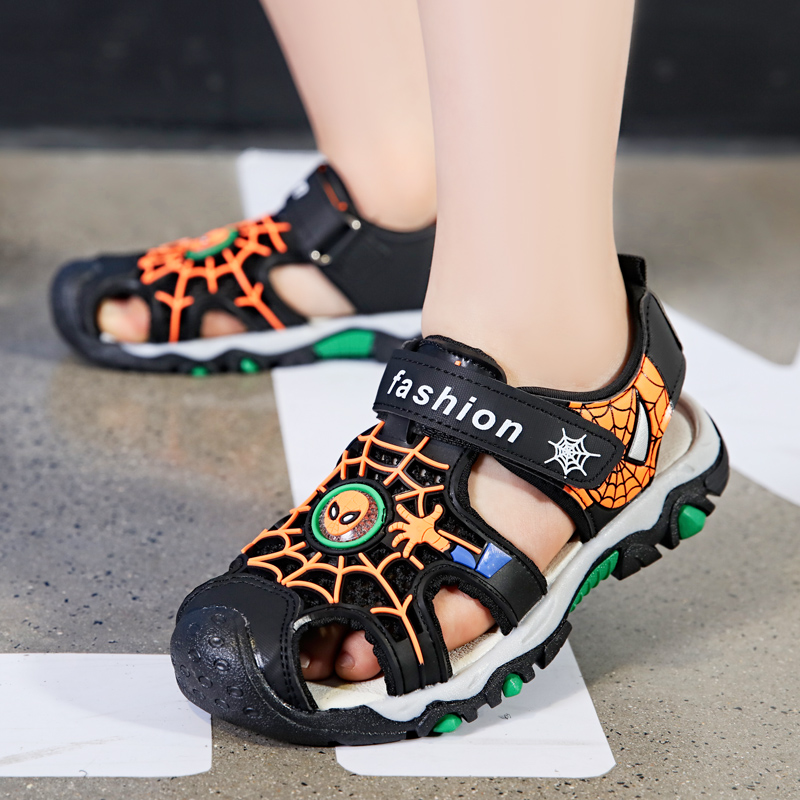 Children Boys sandals fashion spiderman shoes cut outs soft