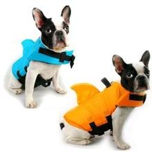 Pet Dog Life Jacket Safety Clothes Life Vest With Fin Collar Harness Saver Pet Dog Swimming Preserver Summer Swimwear Orange Blu