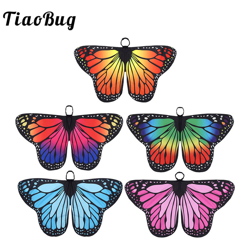 TiaoBug Kids Girls Butterfly Wings Cape Children Halloween Party Cosplay Fairy Dress Up Performance Dance Costume Accessories