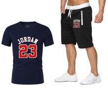 6bdd9ac9f Conjunto de dos piezas trajes de hombre jordan 23 camiseta pantalones  cortos de verano conjunto de