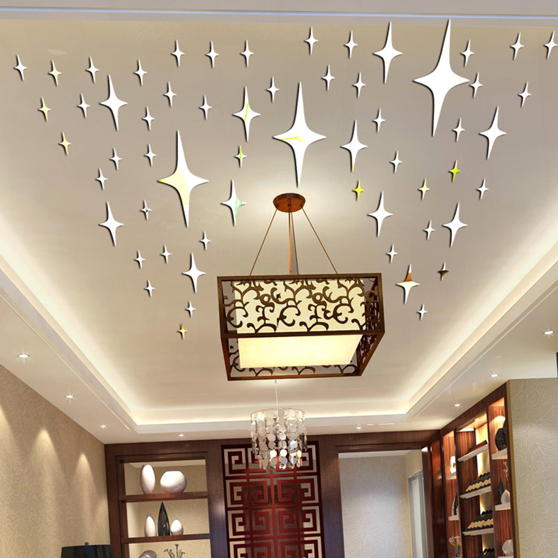 US $1.41 22% OFF 50 Pieces / Pack Star Shape 3D Acrylic Wall Stickers  Living Room Bed Room Ceiling Mirror Wall Sticker Home Decoration P0.2-in  Wall ...