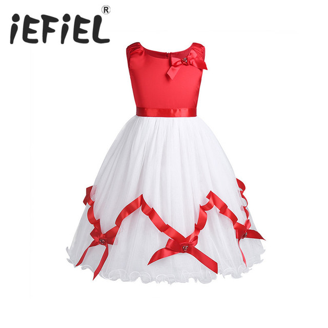 6cfec6e30656 2018 Baby Girls Kids Children Christmas Party Red Dresses Vestidos Tulle Sleeveless  Flower Girls Dress for Birthday Fomal Prom