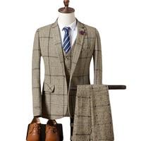 (Jackets+Vest+Pants) 2019 Royal Blue 3 Pieces Mens Suits Plaid Slim Fit Wedding Suits Groom Tweed Wool Tuxedos Wedding Blazres