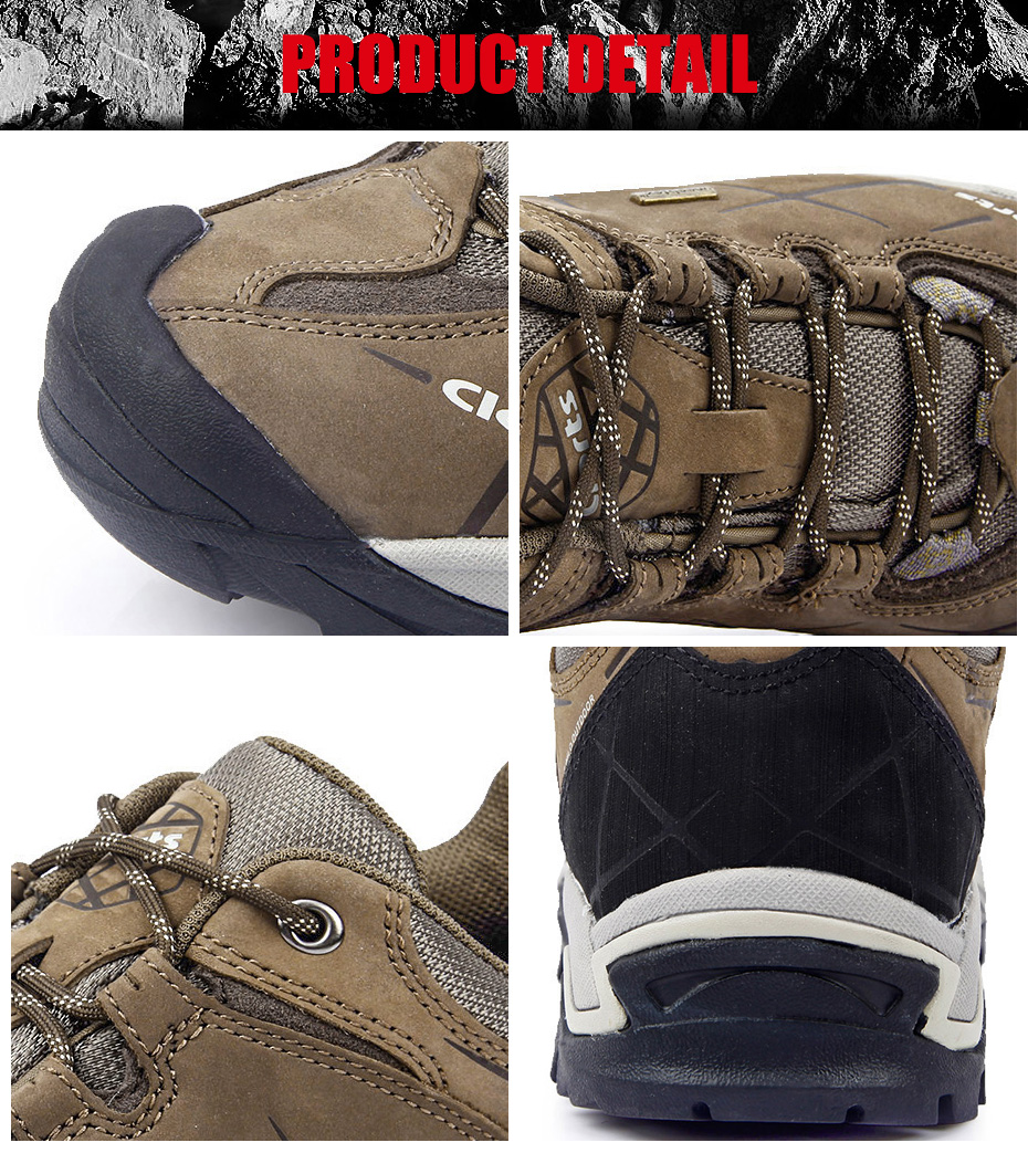 Clorts Men Hiking Shoes Nubuck Climbing Shoes Waterproof 5