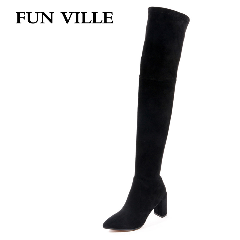 FUN VILLE 2017 New Fashion Autumn Women Over the keen Boots Stretch fabric High Quality Solid Pointed toe slip-on size 34-42