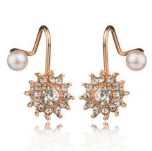 2018 New Fashion Simulated Pearl Jewelry Snowflake Sweet Gold/Silver Color Stud Earrings For Women best gift 2017 Hot 1 Pair