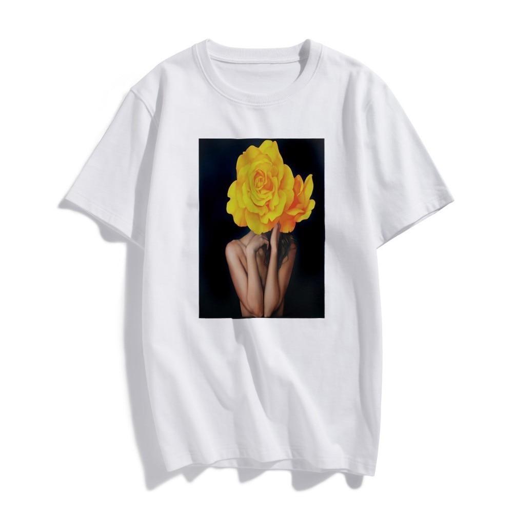 BTFCL women TShirt Nordic Sexy Yellow Flowers Harajuku Aesthetics Printed Cotton Top Tees T Shirt Camisetas Verano Mujer 2019