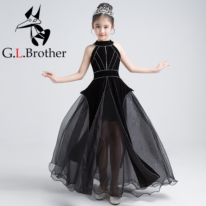Luxury Black Princess Dress Halter Beading Holy Communion Dress Ball Gown Tulle Kids Pageant Dress Birthday Girls Party Gowns B все цены