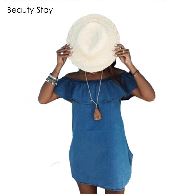 BeautyStay Vestido de mezclilla sin tirantes sexy sin mangas con - Ropa de mujer - foto 2