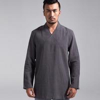 Camisas Tradicionales Chinas Hombre Ask Zen Autumn New Pure Linen Meditation Suit Chinese Tang Men's Long Sleeve T shirt, 15333