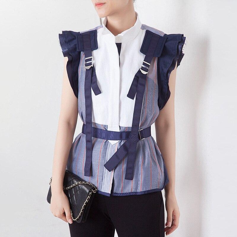 Femmes Mode chemises streetwear Français Rayé À Volants Manches Courtes Tunique Chemisier 2019 D'été Stand Cou décontracté Haute top