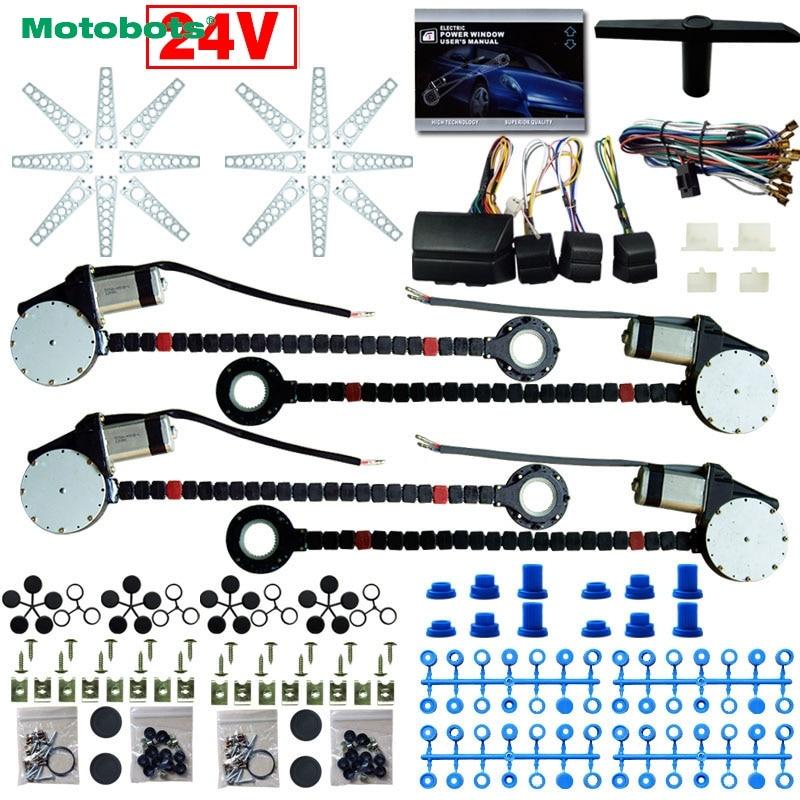 24В MOTOBOTS автомобиль/грузовик Универсальный 4 двери электроники наборы окна силы с 8шт/комплект тусклыми swithces & проводка #CA4498