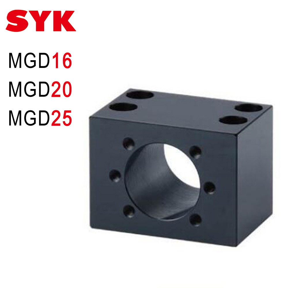 SYK End Support Unit MGD16 MGD20 MGD25 Motor Bracket Nut Housing for Ballscrew 1605 2005 2505