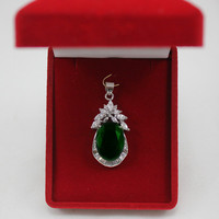 Free Shipping wholesale noblest 13*18mm green zirconia fine design cystal inlay pendant jewelry