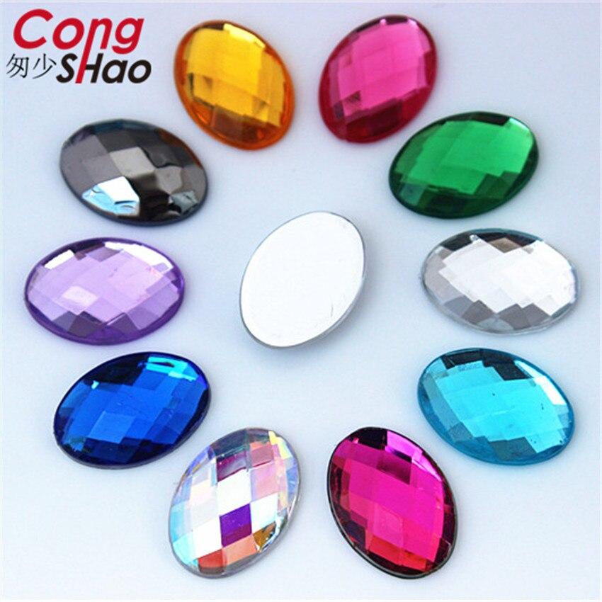 Cong shao 50 шт. 13*18 мм цветные акриловые искусственные бриллианты плоской задней Овальный Форма камнями и одежда с кристаллами ремесел аксессуары ZZ724