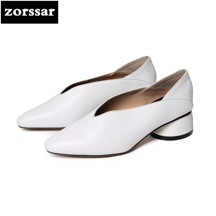{Zorssar} 2018 NEW fashion Leisure Soft leather womens shoes low heel Slip on Pointed toe High heels pumps ladies Grandma shoes sequined high heel stilettos wedding bridal pumps shoes womens pointed toe 12cm high heel slip on sequins wedding shoes pumps