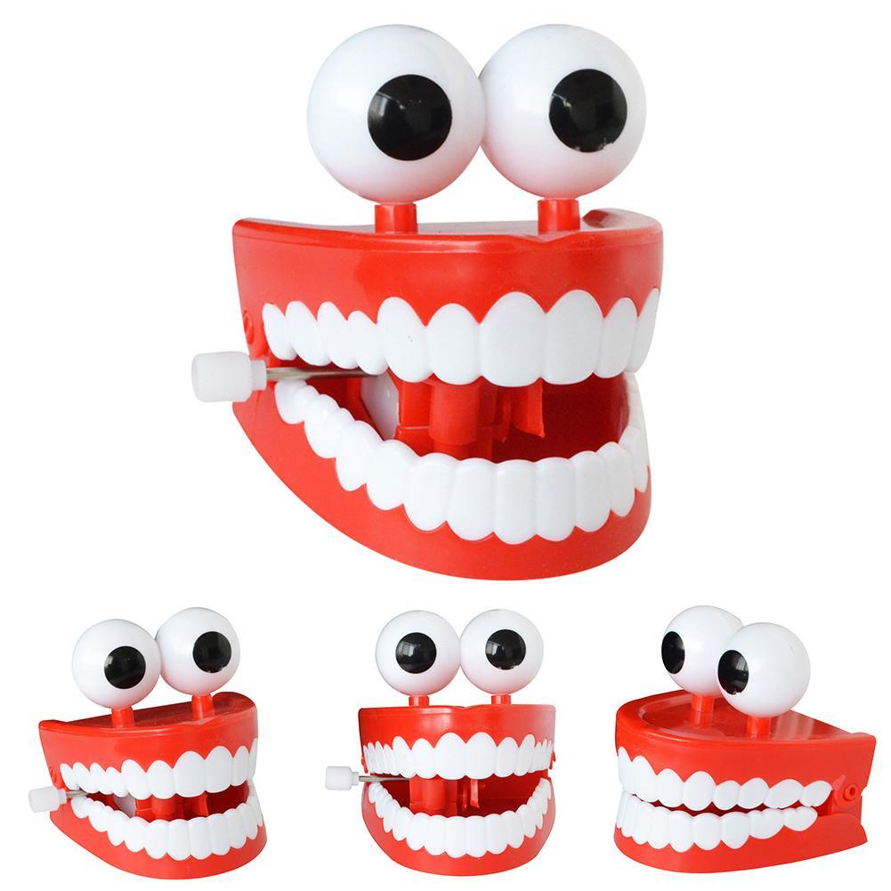 1pc Nostalgic Version Toy Funny Glowing Cartoon Eye-winding Jumping Teeth Denture Wind Up Clockwork Kids Funny Toys