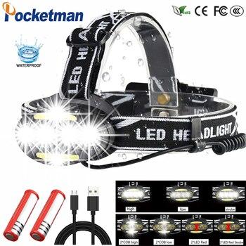 цена на Headlight headlamp 4* T6 +2*COB+2*Red LED Head Lamp Flashlight Torch Lanterna with batteries charger