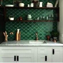 Рыбья чешуя, плитка для кухни, ванной комнаты, настенный пол, водонепроницаемая, зеленая, красная, белая, керамическая стеновая плитка, секционная напольная плитка