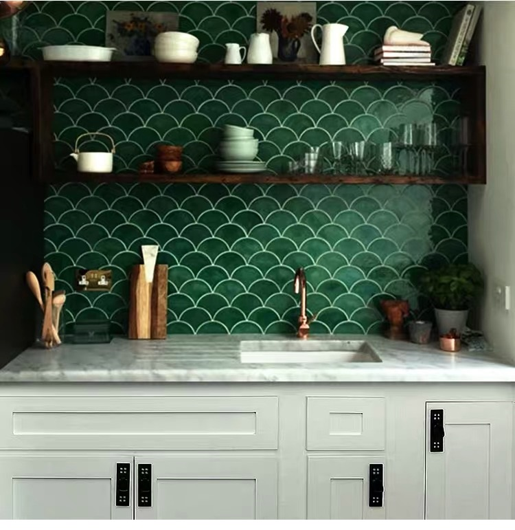 Fish Scale Tiles For Kitchen Bathroom Wall Floor Waterproof Green Red White ceramics Wall Tile Sector Floor Tile