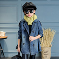 Toddler Clothes Autumn Girl Korean Style Long Denim Cotton Solid Dark Blue Color Princess Fashion Rivet Decor Trench for Outwear
