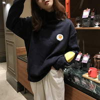 2 colors 2018 autumn and winter korean style cartoon egg knitted turtleneck sweaters womens sweaters and pullovers (F1346)