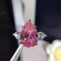 Hot Crystal Girl PInk Rings New S925 Silver Zircon Stones Ring For Women Wedding Jewelry Accessories Gift Size 6 7 8