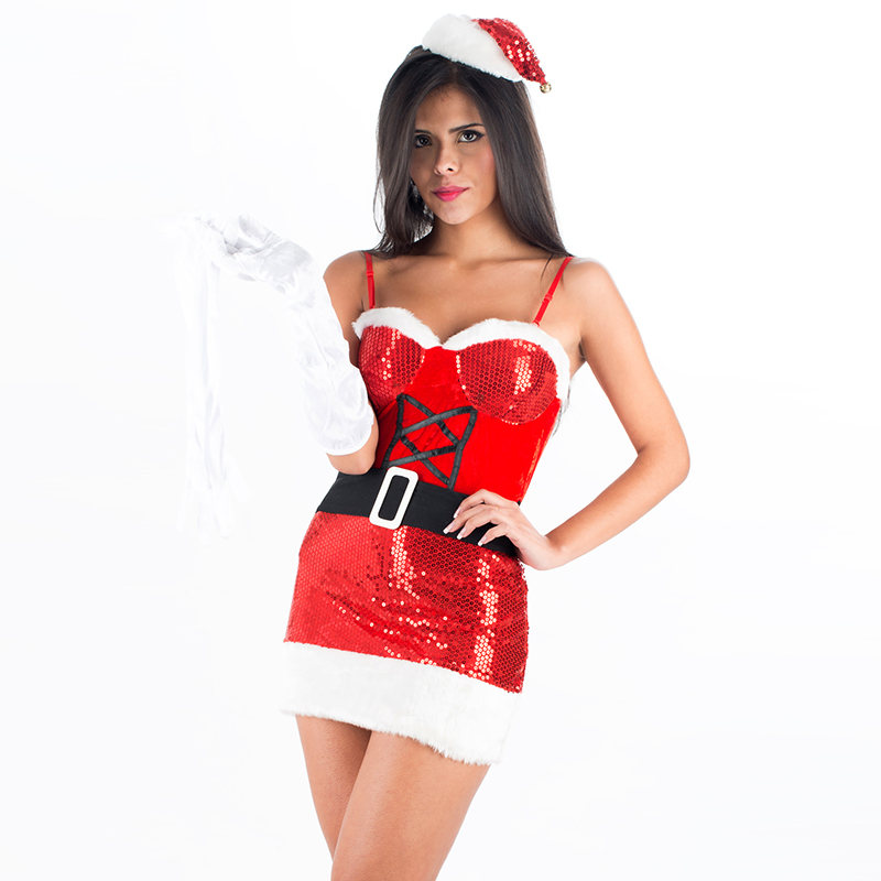 Sexy Women Sequines Miss Santa Dress Christmas Festival Costume for Adult Sexy Fancy Spaghetti Strap Mini Dress Santa Xmas Gifts